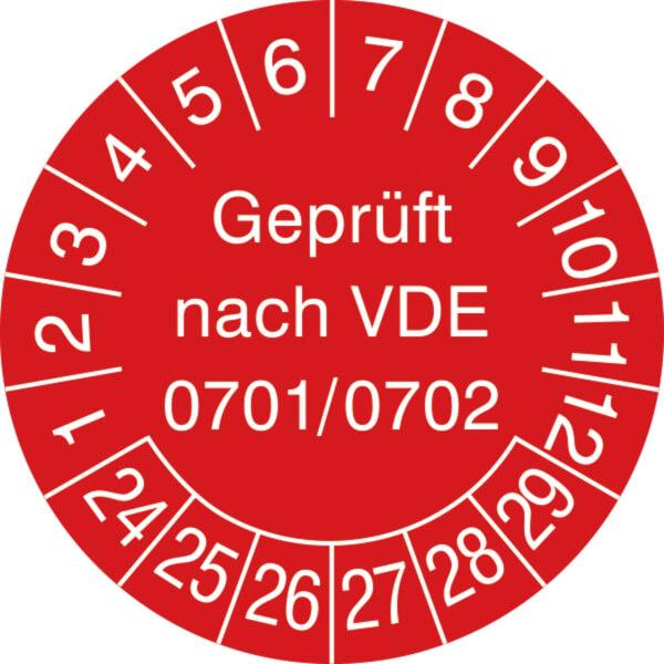 1000 Pr/üfplaketten Gepr/üft nach VDE 0701//0702 18 mm 2020 bis 2025 Pr/üfetiketten
